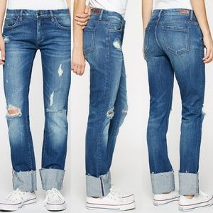 BLANK NYC Distressed Deep Cuff Straight Jeans